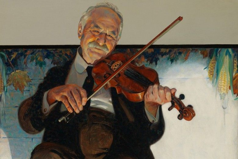 "Norman Rockwell (1894-1978). The Fiddler (detail), 1921, oil on canvas, 27 × 23 1/2"". Brandywine River Museum of Art, Gift of Mr. and Mrs. Andrew J. Sordoni III, 2019"