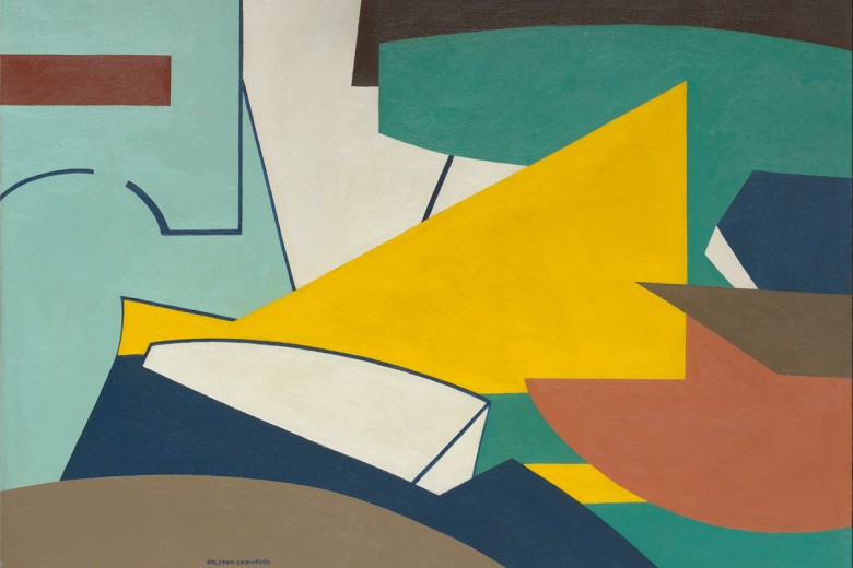 Ralston Crawford (1906-1978), Factory with Yellow Center Shape, 1947, Oil on canvas, 28 x 40 in., Vilcek Collection
