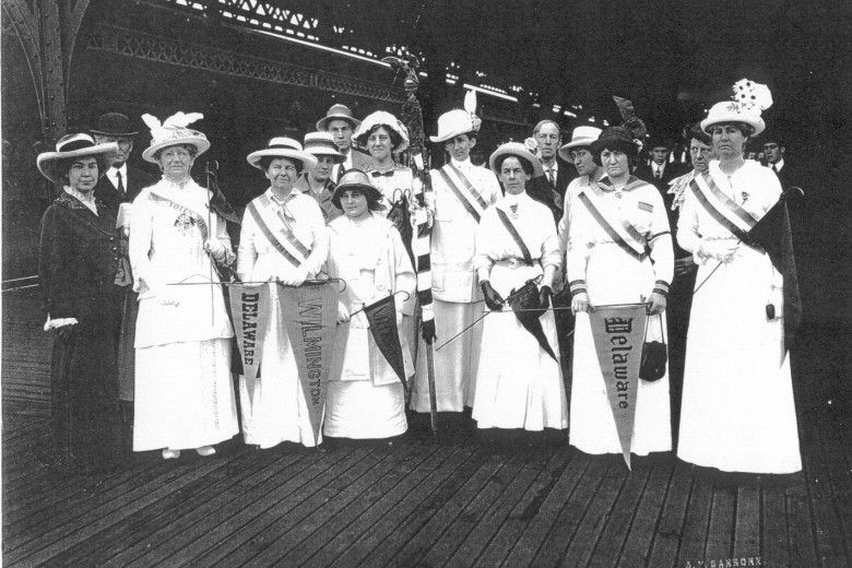 Women at the Wilmington train station departing for a suffrage demonstration in Washington, D.C., May 2, 1914. From the collection of Paul Preston Davis
