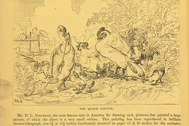 "Stephens' illustration, ""The Quack Doctor,"" in The Riverside Magazine (October 1868)"