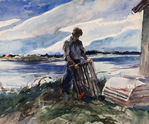 Andrew Wyeth (1917–2009), Lobsterman (Walt Anderson), 1937, watercolor with traces of pencil on paper, 21 3/4 × 27 3/4 in. Anonymous gift, 2013. © 2021 Andrew Wyeth / Artists Rights Society (ARS), New York