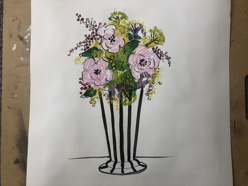 Floral vase made using celery printing