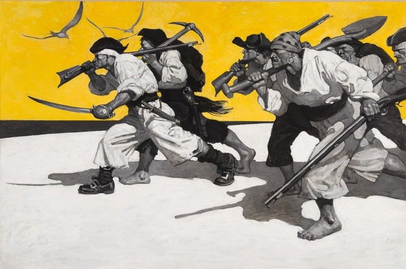 N. C. Wyeth, Treasure Island, endpaper illustration, 1911. Oil on canvas, 32 3/4 × 47 1/8 in. Brandywine River Museum of Art, Purchased in memory of Hope Montgomery Scott, 1997