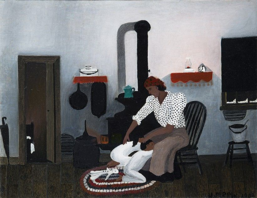Horace Pippin, Saying Prayers, 1943, oil on canvas. 16 × 20 1/8 in. Purchased with the Betsy James Wyeth Fund, 1980