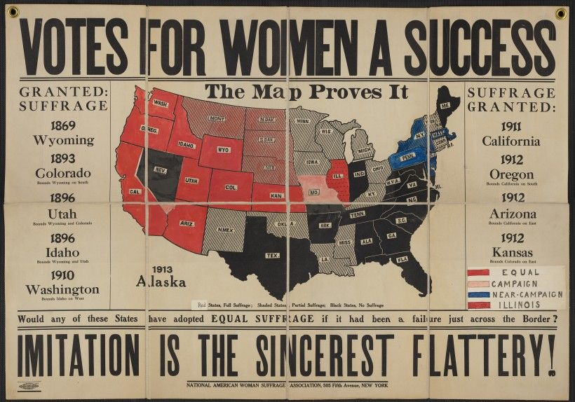 """""""Votes for Women A Success"""" color map, hand colored paper mounted on canvas, 28 x 40 in. National American Woman Suffrage Association Papers, Library of Congress, Manuscript Division."""