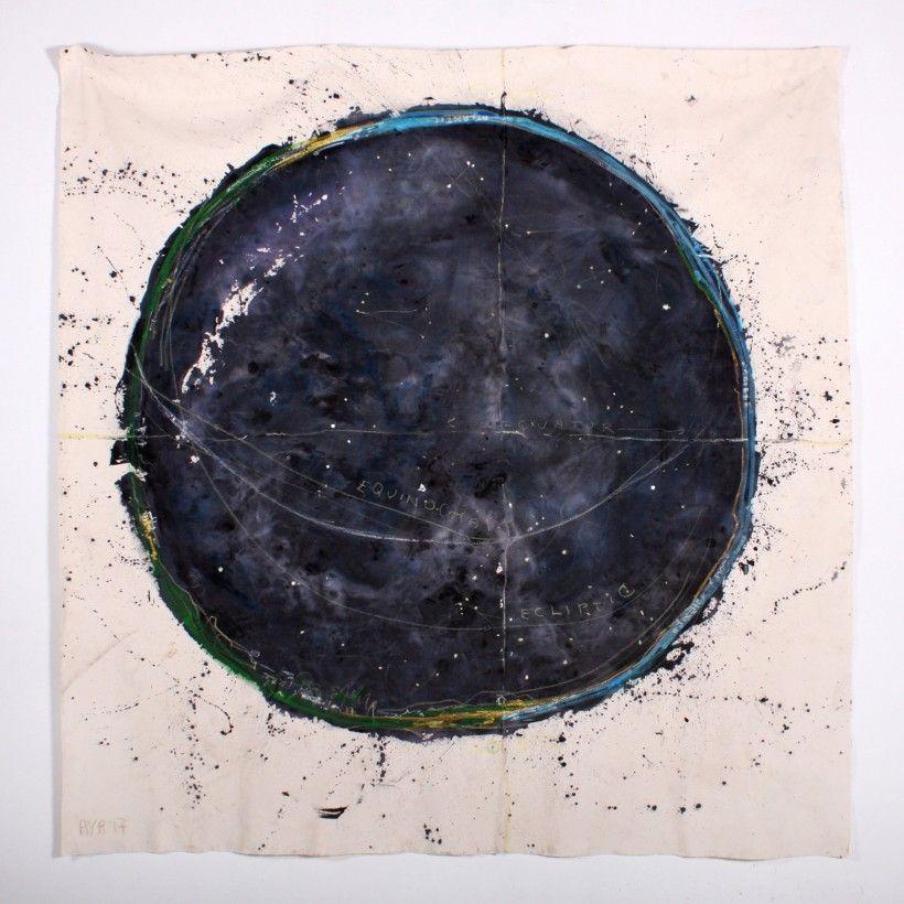 Ana Vizcarra Rankin, Untitled Planisphere (Mexico), 2017 8x8ft mixed media on canvas