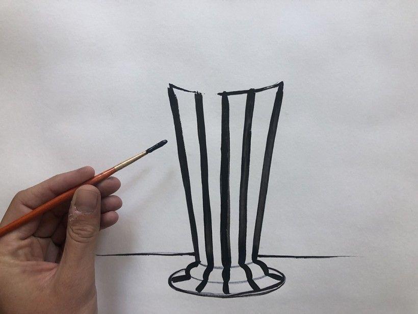 step 2: outline of a vase