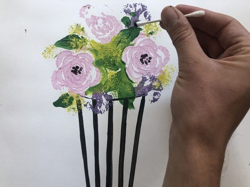 Step 6: add green leaves to flower vase with paint