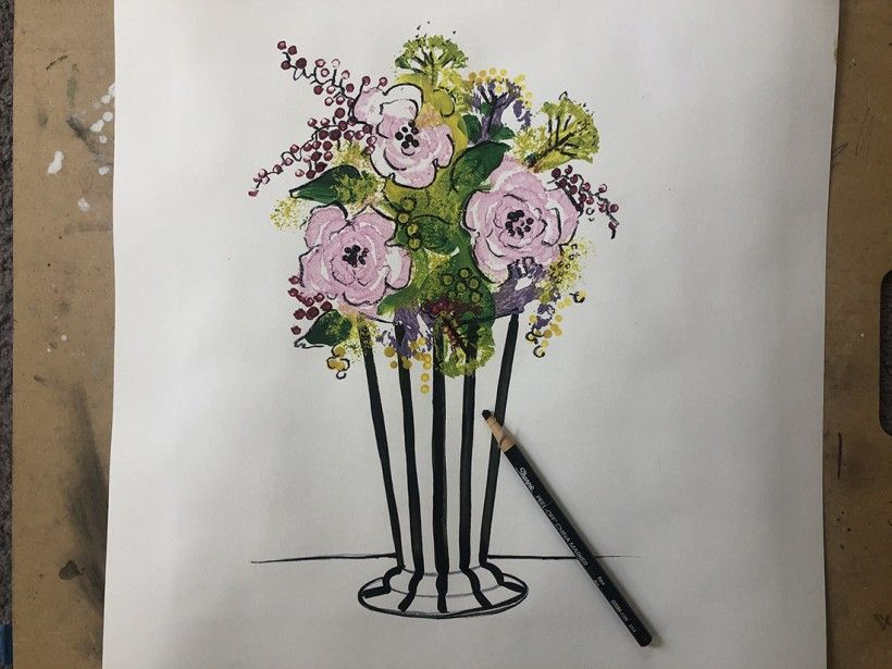 step : completed floral vase made with celery printing