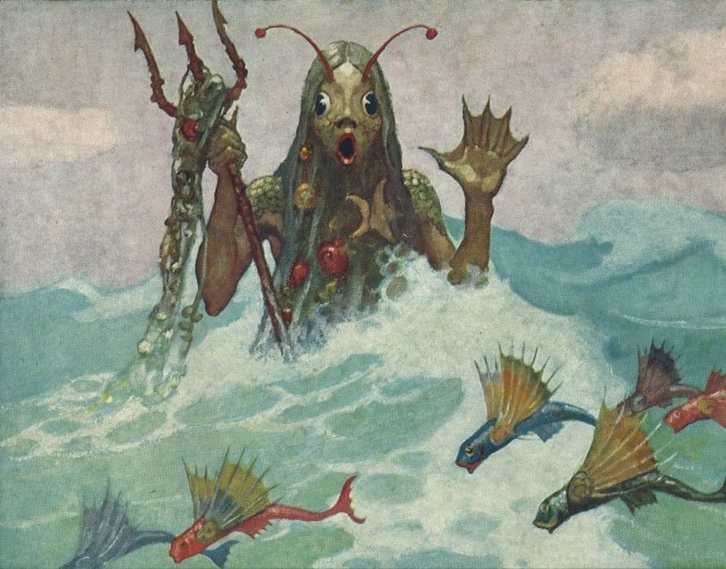 Sea Monster by N. C. Wyeth, As reproduced on 1923 calendar published by the Beck Engraving Company, Philadelphia, PA Walter and Leonore  Annenberg Research Center, Brandywine River Museum of Art