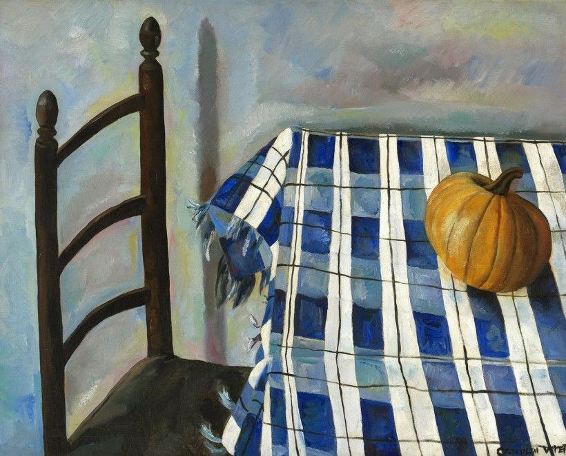 Carolyn Wyeth (1909 - 1994), Betsy's Pumpkin, 1935, oil on canvas, 31 3/8 × 39 1/2 in. Gift of Mr. and Mrs. Andrew Wyeth, 1985