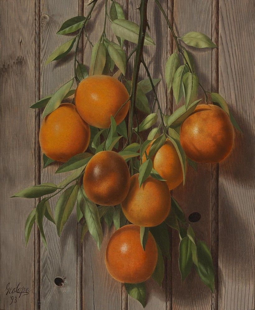 George Cope (1855 - 1929), Oranges, 1893, oil on canvas, 16 × 20 in. Special purchase by Museum Volunteers' Cookbook Committee, 1990