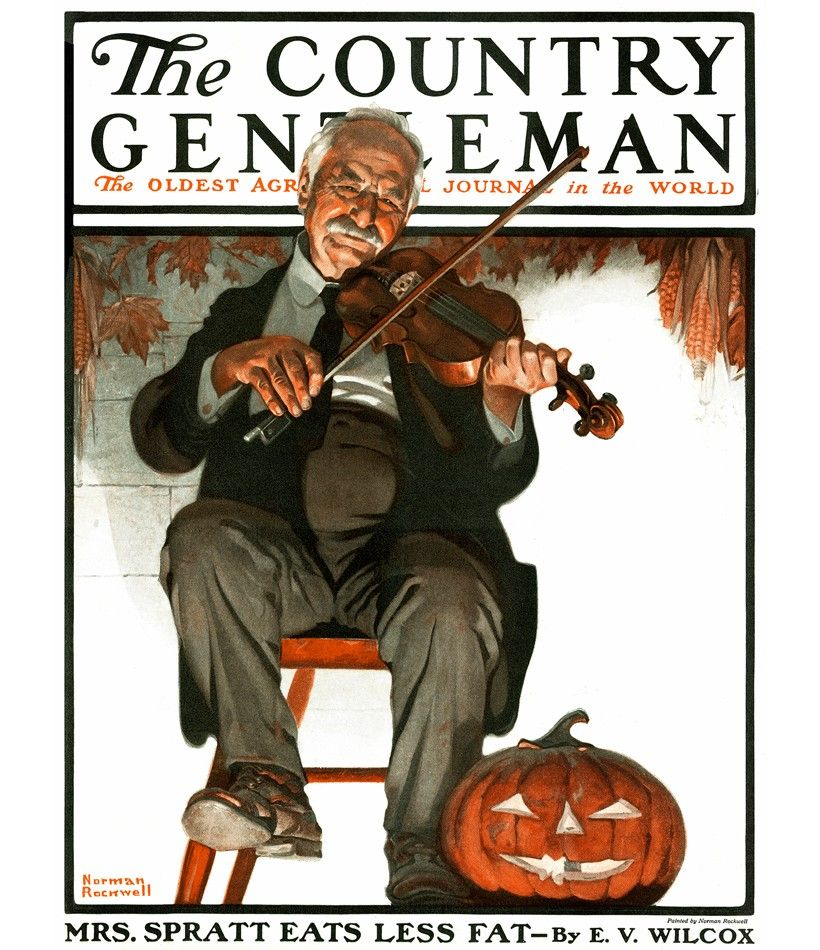 Norman Rockwell's The Fiddler on the late October 1921 issue of The Country Gentleman by Curtis Publishing, Philadelphia. Illustration courtesy of Curtis Licensing