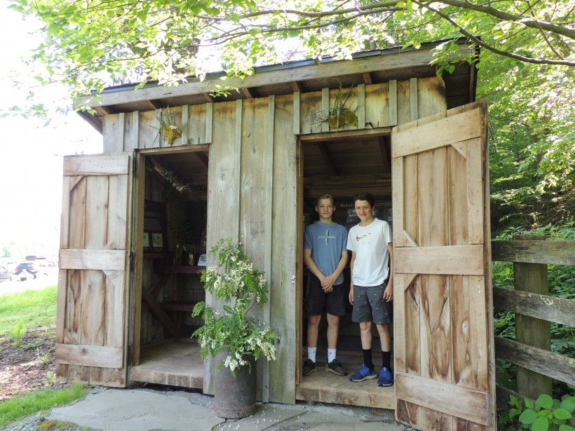 Visitors at the new Passive Environmental Education Center at the Laurels Preserve