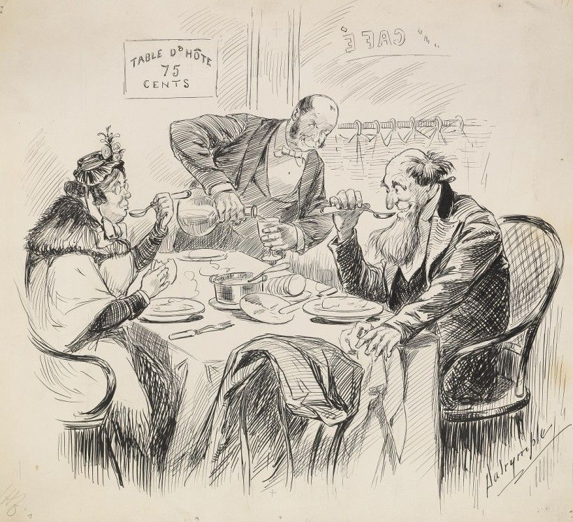 """Louis Dalrymple (1865 ‑ 1905), Table d'Hote 75 Cents, October 21, 1891, pen and ink on paper, 11 13/16 × 12 13/16"""". Gift of Jane Collette Wilcox, 1982. collections.brandywine.org"""