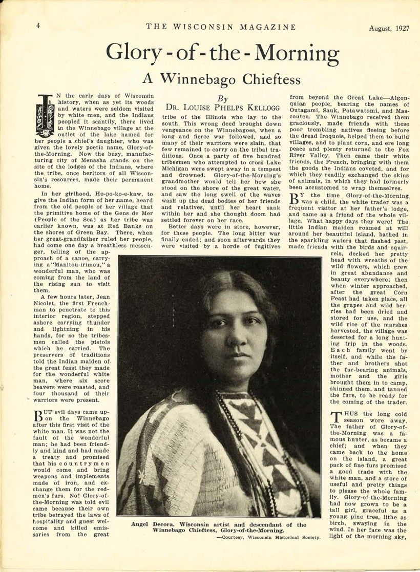 An article from the August 1927 issue of The Wisconsin Magazine about Angel De Cora.