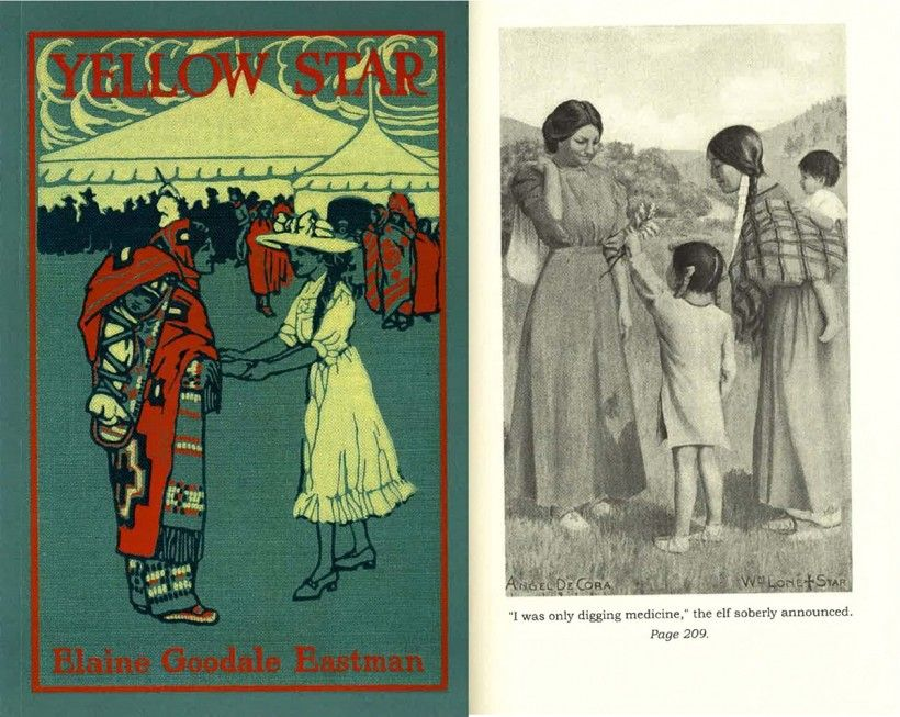 "Illustrated by Angel De Cora, ""Yellow Star"" by Elaine Goodale Eastman (1911) tells the story of Yellow Star, an Ojibwa girl who struggles to fit in while attending a mainstream boarding school in New England."