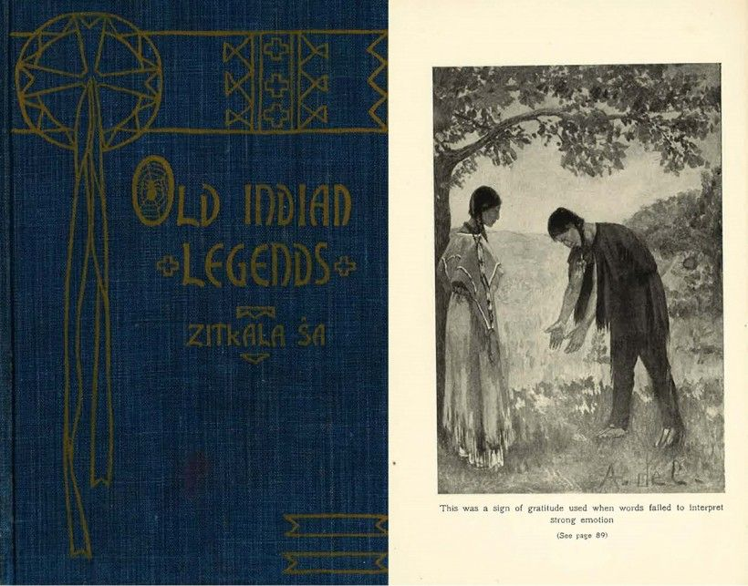"The 1904 edition of ""Old Indian Legends"" by Zitkala-Ša, with De Cora's frontispiece illustration on the right."