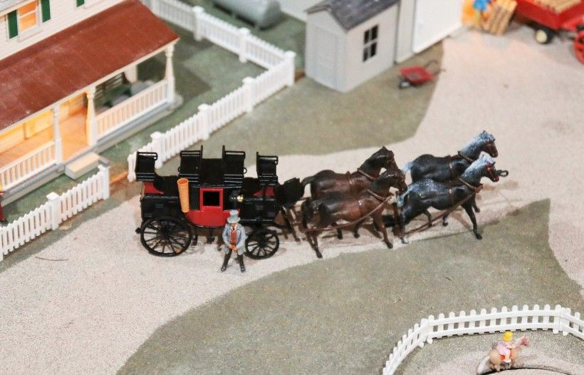 """A tribute to one of the Brandywine Conservancy & Museum of Art's founders, George A. """"Frolic"""" Weymouth - a horse drawn carriage in our holiday train display"""