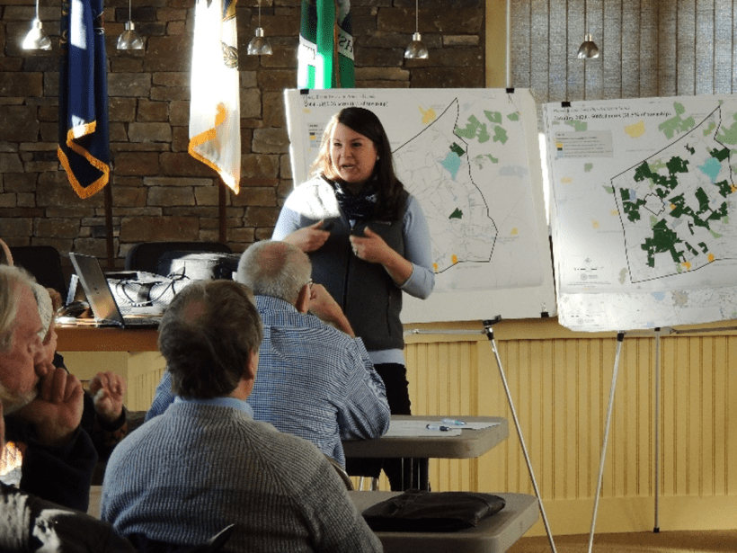 The Brandywine Conservancy's Stephanie Armpriester presenting the results of a township-wide farm survey.