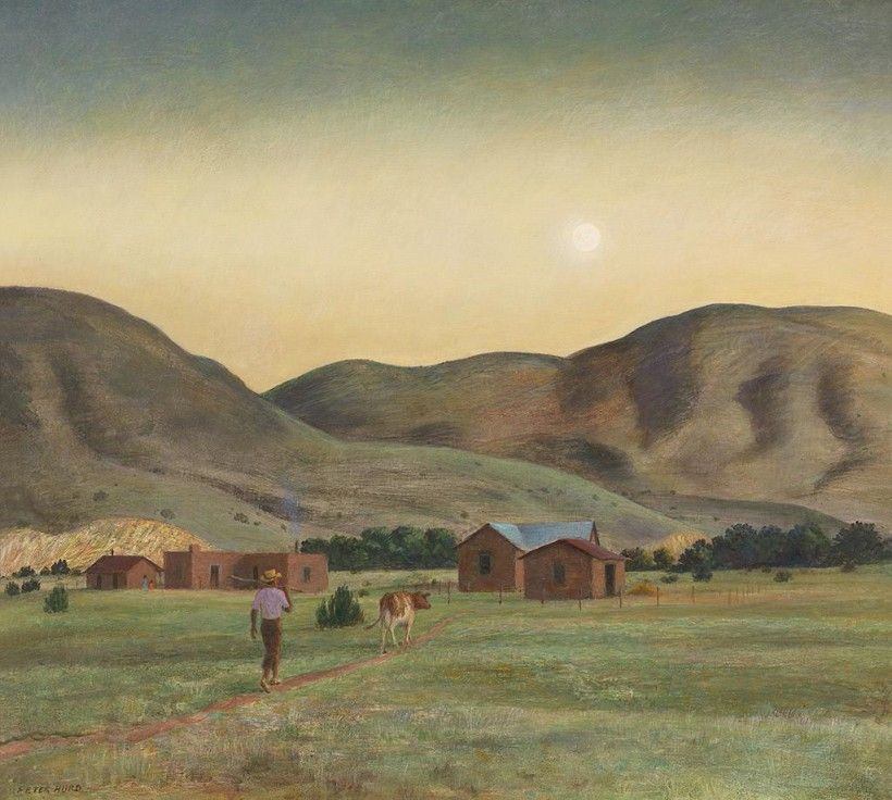Peter Hurd (1904 - 1984), A Summer Evening, 1968, tempera on panel, 23 × 25 15/16 in. Gift of Mr. and Mrs. Andrew Wyeth, 1985, 85.10.81. © artist, artist's estate, or other rights holders