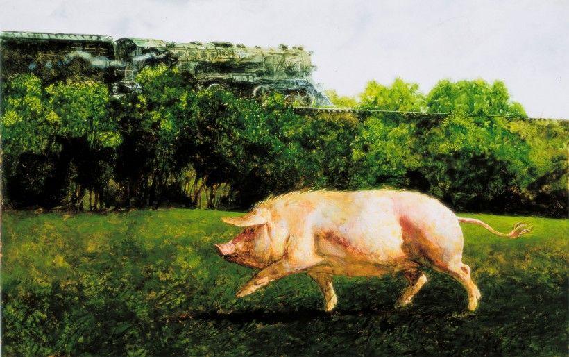 Jamie Wyeth (b. 1946), Pig and the Train, 1977, oil on canvas. © 2021 Jamie Wyeth / Artists Rights Society (ARS), NY.