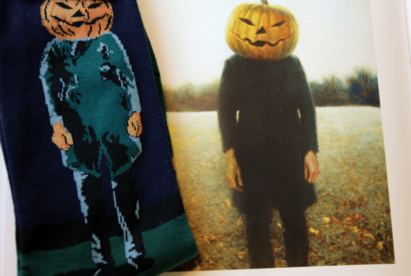 Socks inspired by Jamie's Wyeth's painting Pumpkinhead available at the Brandywine River Museum of Art shop