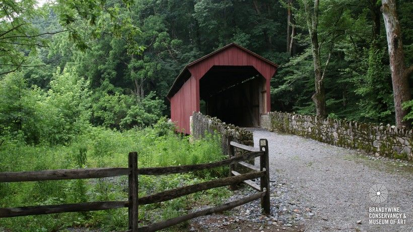 Red covered bridge and hiking trails