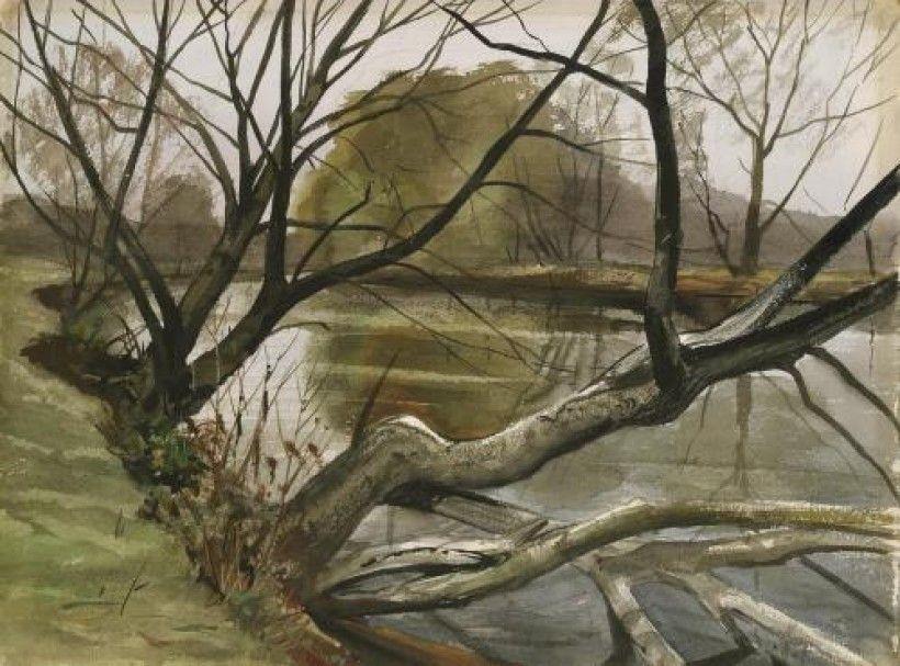 John W. McCoy, Brandywine River Landscape, ca. 1950. Watercolor on paper, 21 × 28 in. Gift of Mrs. Richard F. Corroon, 1982