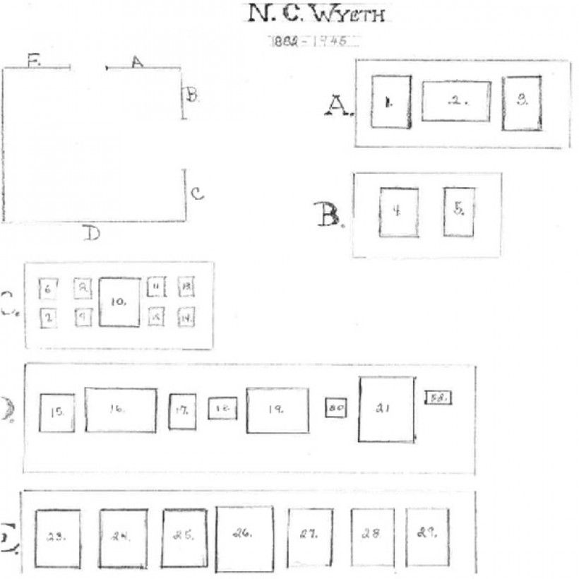 Diagram of N.C. Wyeth Gallery first exhibition