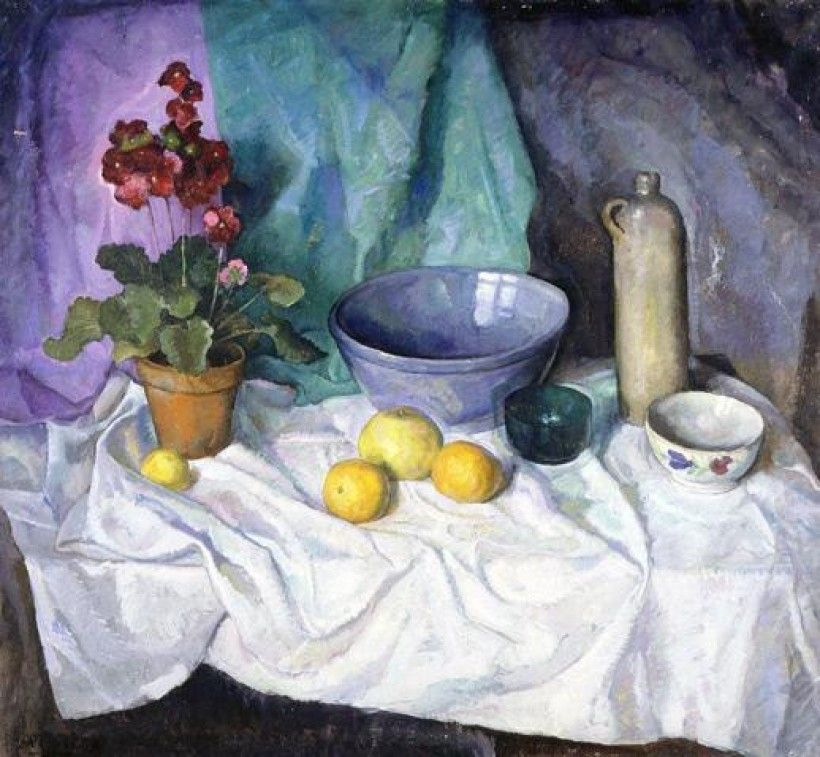 N. C. Wyeth (1882 - 1945), Still Life with Geranium and Citrus Fruit, after 1933, oil on canvas, 48 1/4 × 52 in. Brandywine River Museum of Art, Gift of Carolyn Wyeth, 1992
