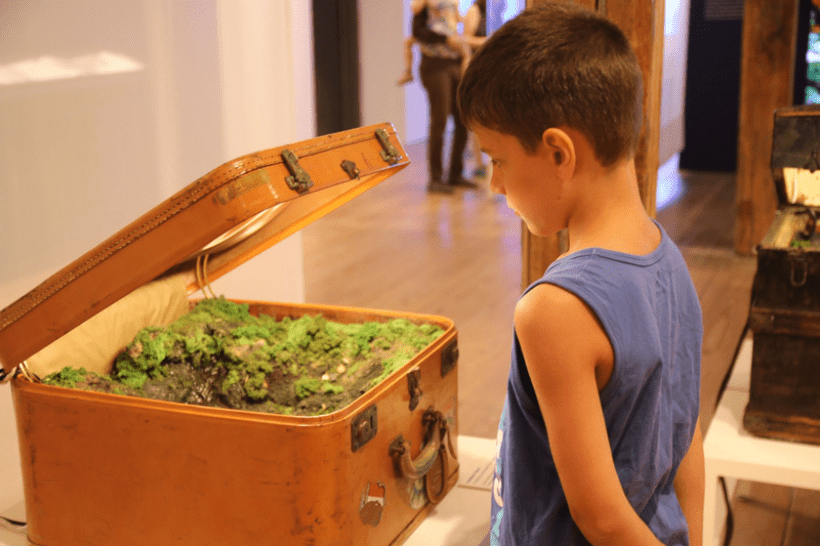 A young boy viewing Traveling Landscape (Sun Seekers) by Kathleen Vance; On view at the Brandywine River Museum of Art as a part of our Natural Wonders exhibition