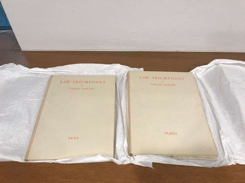 The two copies (text and plates) of Violet Oakley's Law Triumphant, published in 1932. Brandywine River Museum of Art