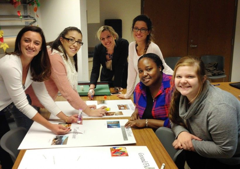 Students from Salus University and Neumann University work together to create visual tools for our event