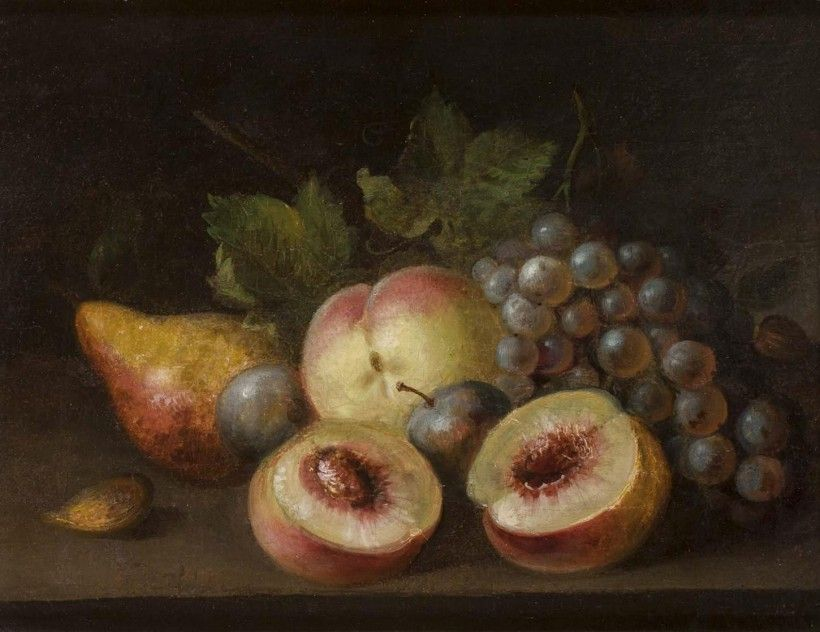 Raphaelle Peale (1774 - 1825), Still Life with Peach Halves, 1822, oil on canvas formerly mounted on wood panel, 12 5/8 × 14 3/16 in. Purchased with Museum funds, 1983