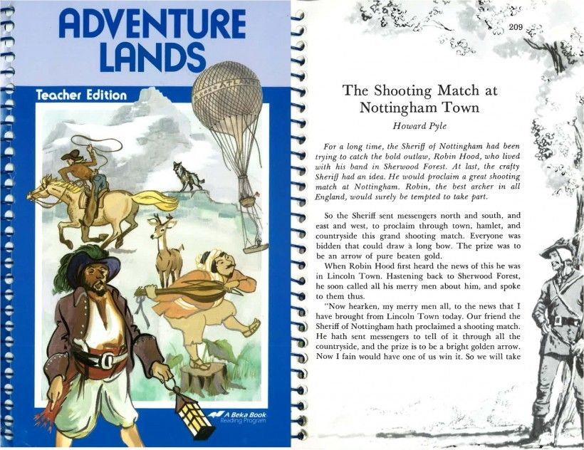 """This 1987 anthology published by Pensacola Christian College contains the chapter """"The Shooting Match at Nottingham Town"""" from Howard Pyle's The Merry Adventures of Robin Hood, first published in 1883."""