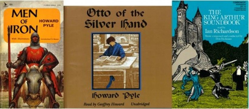 Examples of later editions of Howard Pyle's medieval novels. The first is a paperback published in 1965, the second is a 2001 audiobook on CD, and the third is an audiocassette published in 1979.