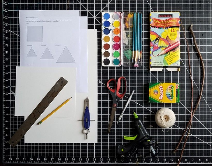 Supplies for paper platonic solids craft