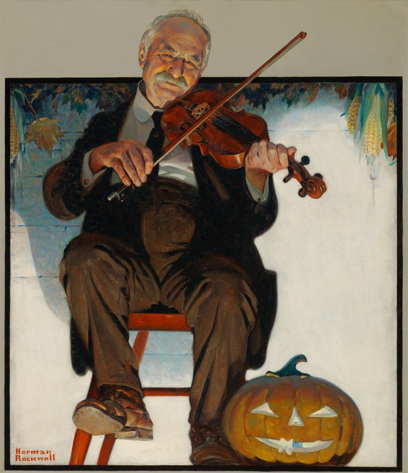 "Norman Rockwell (1894-1978). The Fiddler, 1921, oil on canvas, 27 × 23 1/2"". Brandywine River Museum of Art, Gift of Mr. and Mrs. Andrew J. Sordoni III, 2019"