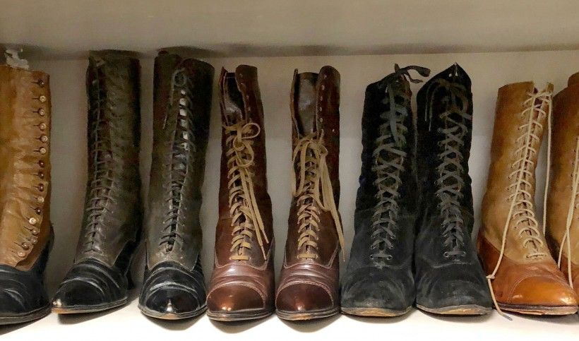 Early 20th century women's boots in storage at Fashion Archives & Museum of Shippensburg University