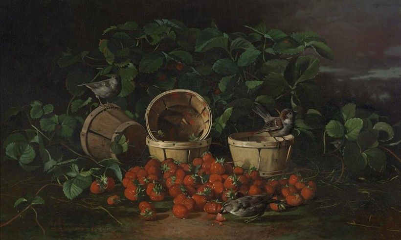 Edward Chalmers Leavitt (1842 - 1904), Still Life with Strawberries and Sparrows, 1880, oil on canvas, 22 × 36 1/4 in. Purchased with the Museum Volunteers' Fund, 2008