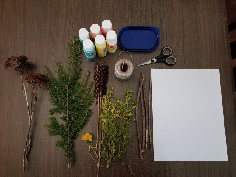 Gather your supplies to create nature paint brushes
