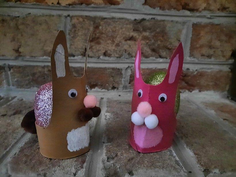 Creating toilet paper bunnies, step five