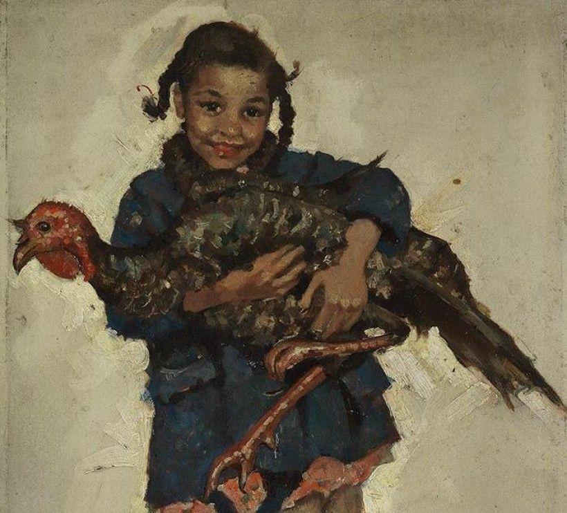 Ellen Bernard Thompson Pyle (1876 - 1936), Thanksgiving Turkey (detail), ca. 1925, oil on illustration board, 12 1/2 × 8 1/2 in. Gift of Mr. and Mrs. H. Willis Lawrence (artist's daughter), 1972