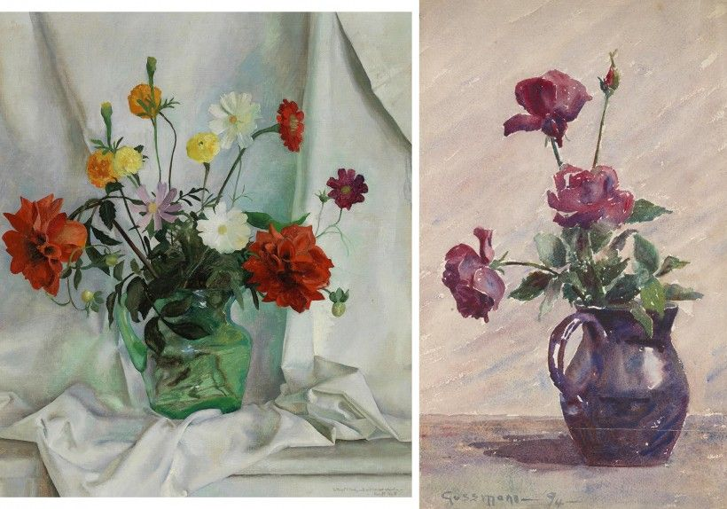 LEFT: Henriette Wyeth (1907 - 1997), Autumn Flowers, ca. 1926, oil on canvas, 35 × 30 in. © artist, artist's estate, or other rights holders. RIGHT: Caroline Louise Gussmann (1872 - 1952), Roses in Vase, 1894, watercolor on paper, 18 3/8 × 11 1/4 in.