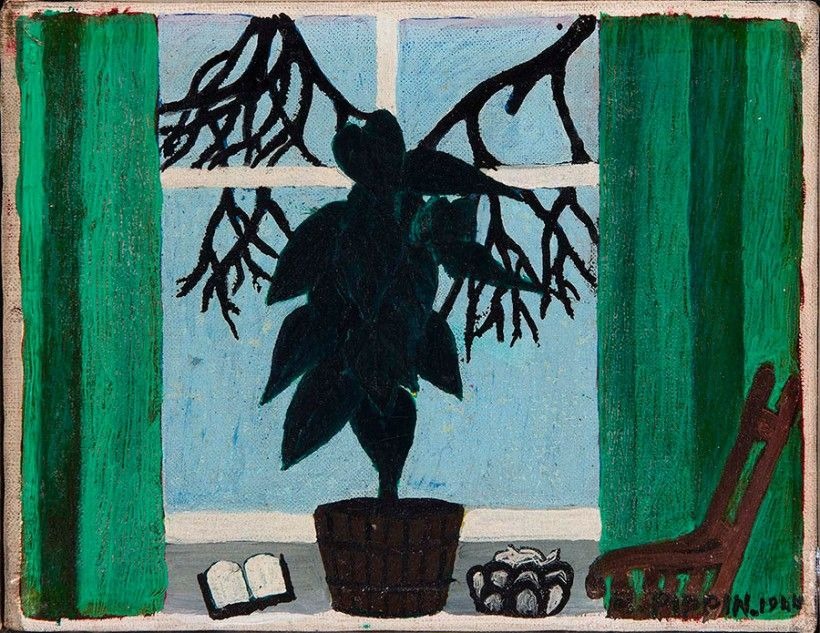 Horace Pippin, Potted Plant in a Window, 1943, oil on fabric