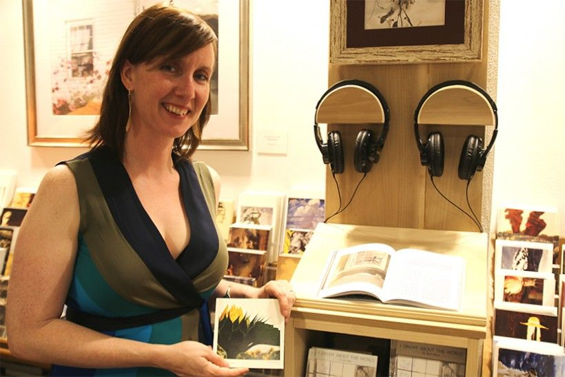 Catherine Marie Charlton visiting the listening station for her new album located in the Brandywine River Museum of Art Shop.