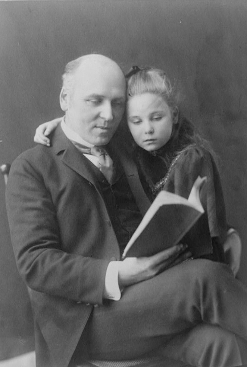 Howard Pyle and his daughter Phoebe, 1896, photograph by Frances Benjamin Johnston (1864-1952), a research reference copy in the Paul Preston Davis collection obtained from Library of Congress