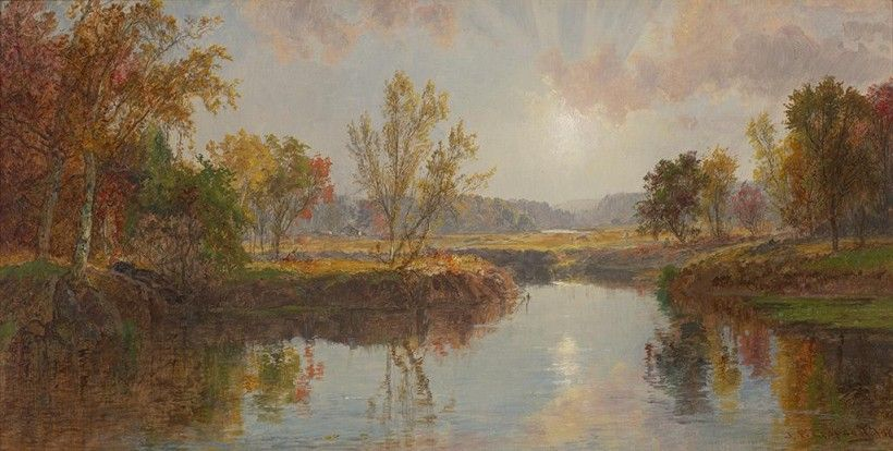 Jasper Cropsey, Autumn on the Brandywine River, 1887. Oil on canvas, 10 7/8 × 20 3/4 in. Purchased with Museum funds, 1981