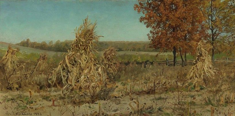 William Trost Richards (1833–1905), Corn Shocks in Early Autumn, 1886. Oil on canvas board, 20 × 10 in. Given in Loving Memory of Lois F. McNeil by Jennifer and Bob McNeil, 2004